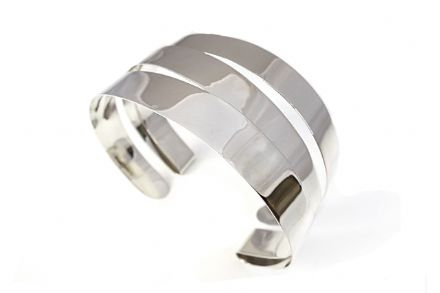 Sterling Silver 925 Smooth Ribboned Design Cuff Bracelet